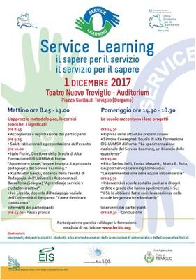 1 dicembre 2017 Convegno SERVICE LEARNING, il sapere per il servizio, il servizio per il sapere.
